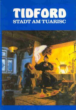 Titelbild des Buchses: Ein Magier zeigt einem Zwerg die Illusion einer geflügelten menschlichen Gestalt